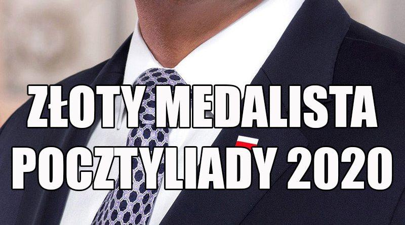 Napis: złoty medalista Pocztyliady 2020
