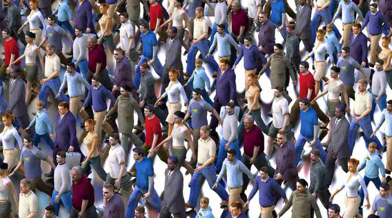 """Głupota - ilustracja: tłum ludzi z gry """"The Sims"""""""