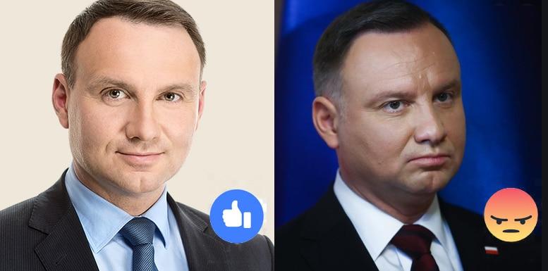 Andrzej Duda - młody i zadowolony (gdy dasz lajka), oraz Andrzej Duda starszy, grubszy i strapiony (gdy dasz Wrr)