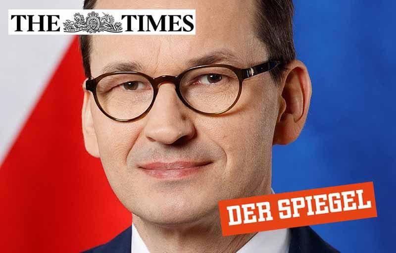 """Zdjęcie premiera Mateusza Morawieckiego z wstawionymi logo """"The TImes"""" i """"Der Spiegel """