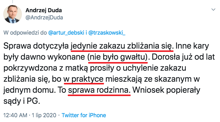 """""""To sprawa rodzinna"""" - obraz z Twittera Andrzeja Dudy"""